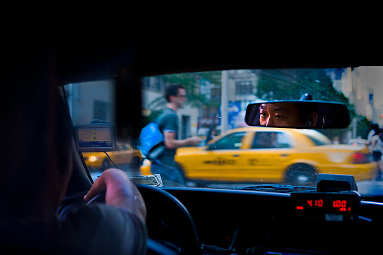 Taxi Driver in the Mirror : Park Av South at 18th Heading North : NYC
