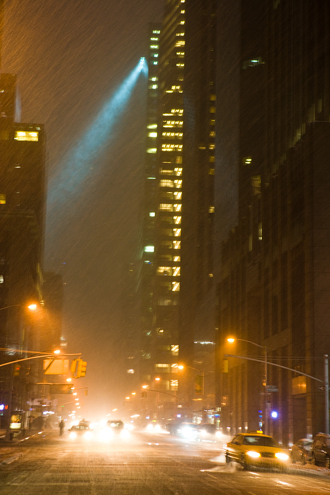 Blade Runner Canyon Snow Storm Taxi : 6th Av from Radio City : NYC