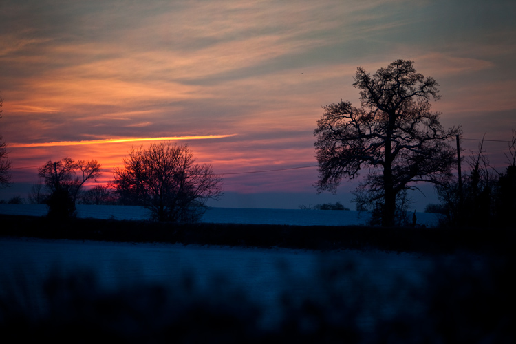 Sunset over Fields of Snow in Warwickshire : Midlands : UK