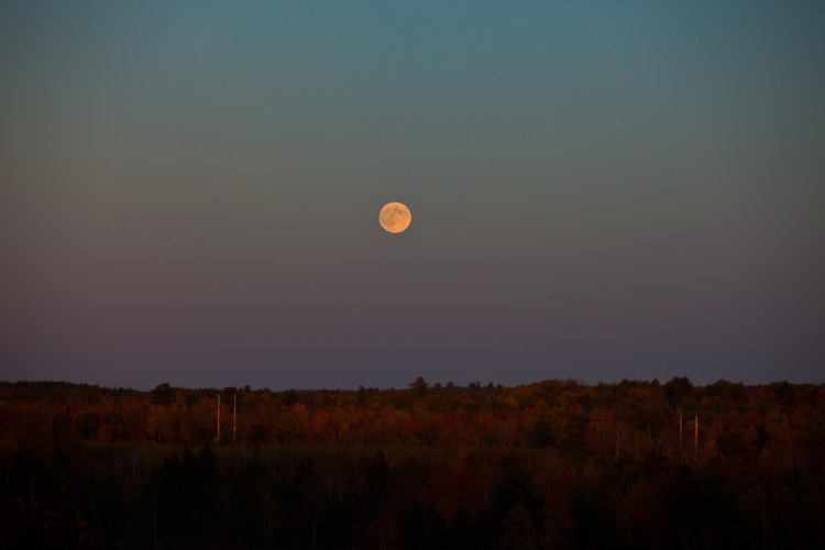 Moon Rise over Maine : Bangor : Maine