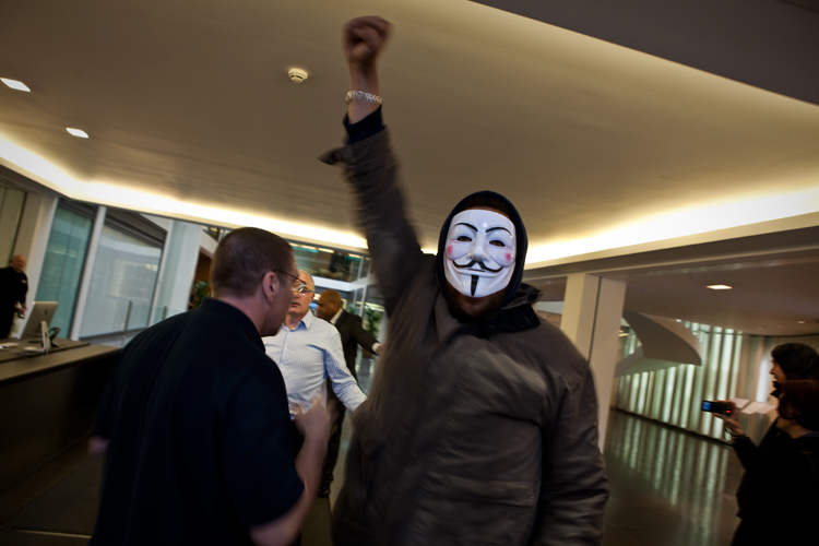 Occupy Protester Invades an Investment Bank : City of London