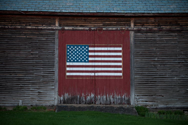 Flag on the Barn Door : Stamford : Vermont