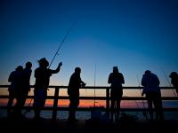 Fishermen In The Fading Light : Chesapeake Bridge Tunnel Fishing Pier : Virginia