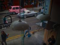 The Pink Cab and The Corvette on iphone : Sunday Lunch Camden : London