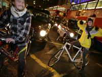Critical Mass Riders block the Road : Marble Arch : Central London : UK