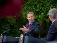 Smoking Gun Prime Minister Tony Blair with President Bush : White House Rose Garden : DC