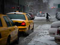 The Endless Winter for NYC's Yellow Cabs : W 35th St & 9th Av : New York City