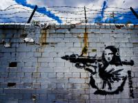 Banksy Mona Lisa with RPG : Isle of Dogs : London