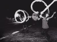 Fire Dancing Traveller Girls on Solstice : Solsbury Hill : UK
