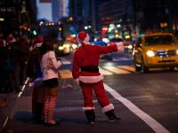 Santa Hails Yellow Cab : Grand Central : NYC