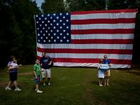Ameicans and their Flag at a Vote Mitt Romney Event : Smokeys Shack : Morrisville : North Carolina