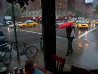 More rain in the City - Red Umbrellas Yellow Taxis : 23rd and 9th : NYC