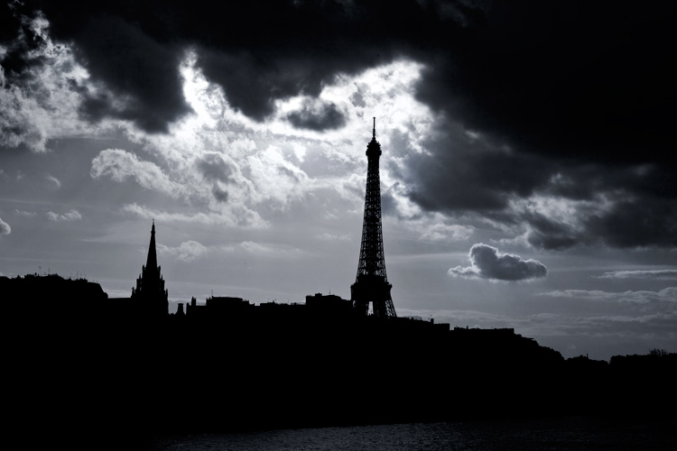 Dark Clouds Over Paris and the Eiffel Tower : Paris : France