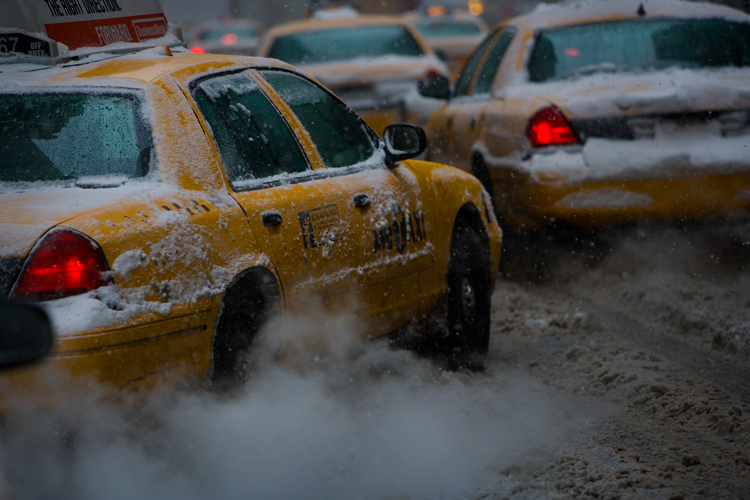Taxis in the Snow : Midtown Manhattan : New York City