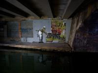 Banksy Graffiti Art Camden : Regents Canal : London
