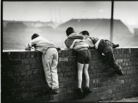 Boys Play Close to Coal Piles : Bootle : England UK